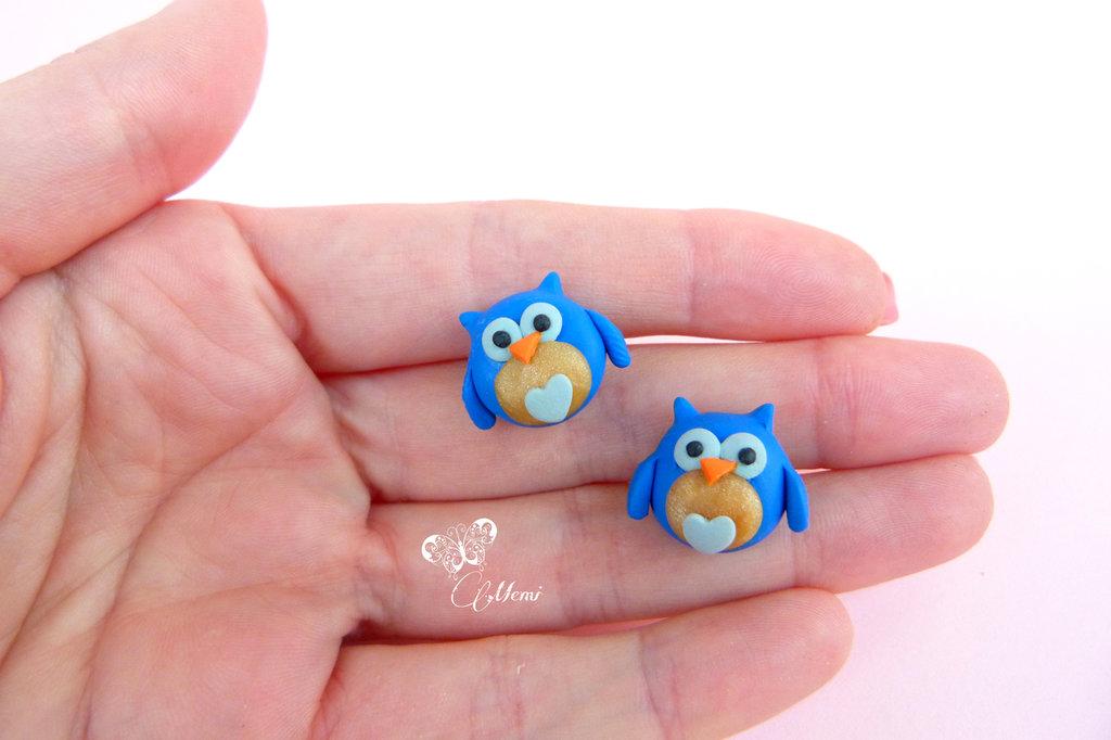 Orecchini a lobo Gufetti blu elettrico - Owl cute earrings handmade in polymer clay