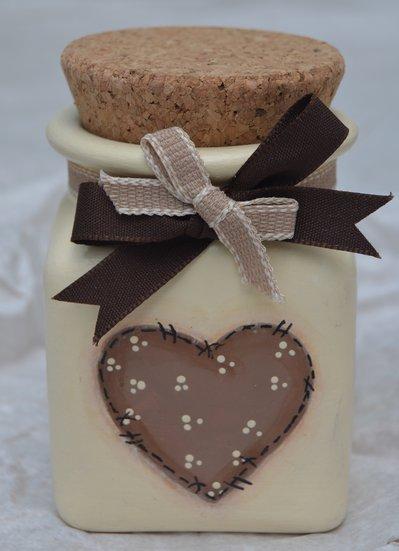 Barattolo in ceramica decorato cuore country