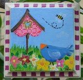 Quadretto  Pittura country con uccellino