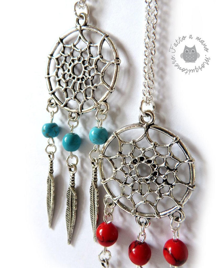 Collana acchiappa sogni in metallo color argento e perle in pietra Dreamcatcher