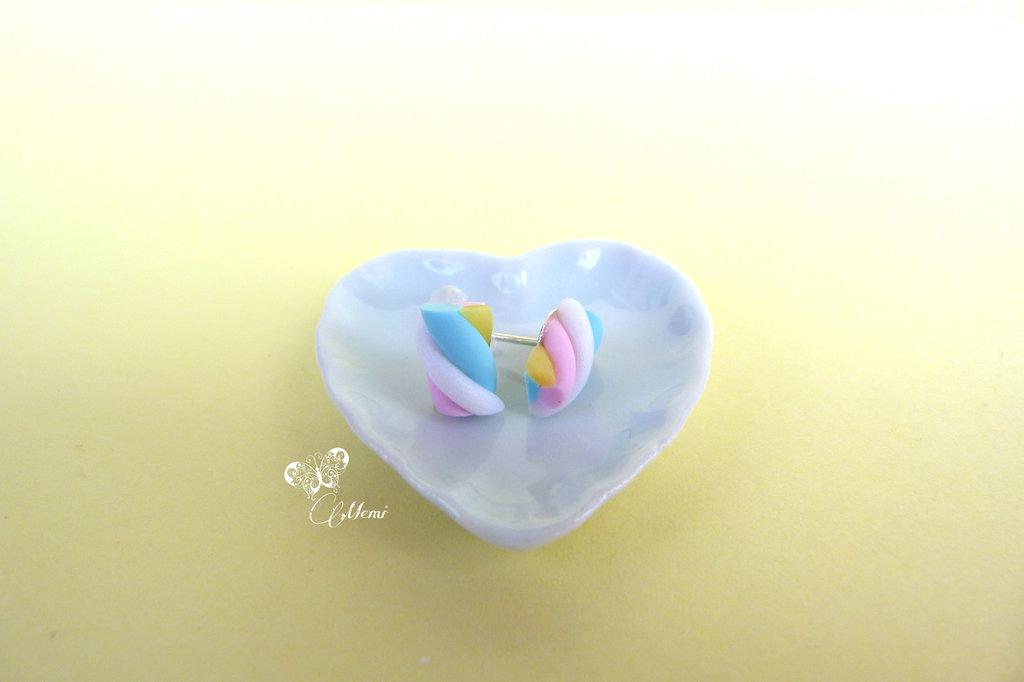 Orecchini a lobo marshmallow colori pastello SIZE S - cute miniature earrings in polymer clay
