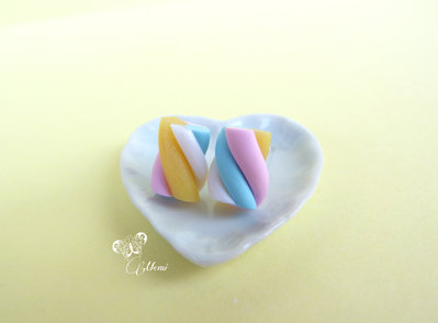 Orecchini a lobo marshmallow colori pastello SIZE M - cute earrings miniature polymer clay