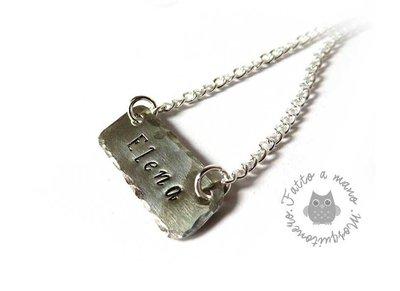 Collana Nome inciso targhetta personalizzata in colore argento