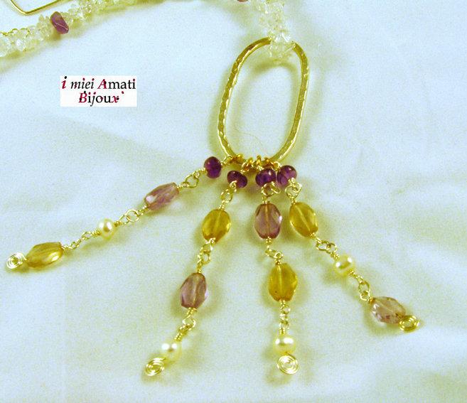 Collana perle colt, fluorite, ametista, argentone