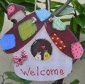 Casetta country Welcome con uccellini