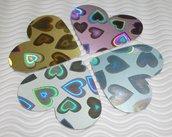 Cuori Fustellati Grandi in Fantasia Psychedelic Cotton Rainbow - Lotto per scrapbooking e Cardmaking (40pz)