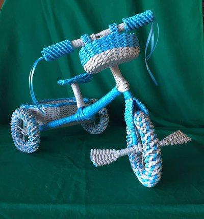 triciclo portabomboniere,cesto nascita in carta riciclata