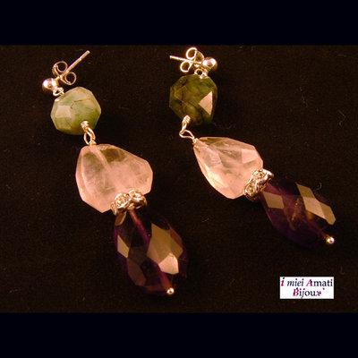 Orecchini smeraldo, quarzo rosa, ametista