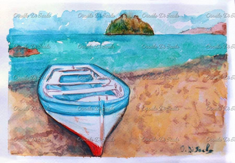 Acquerello barca Ischia castello aragonese