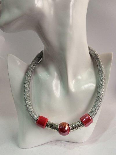 #collana #girocollo #corda #climbing  #rossa #argento