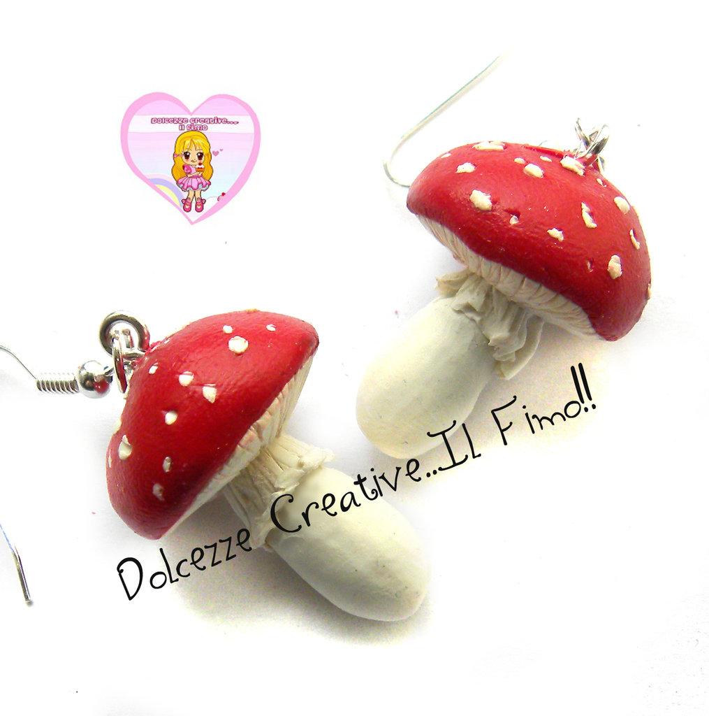 Orecchini funghi Amanita muscaria - in fimo e cernit