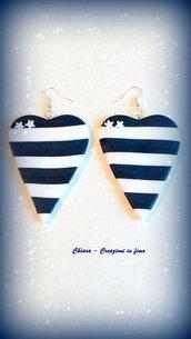 Orecchini in fimo handmade marinari a righe bianco blu idea regalo