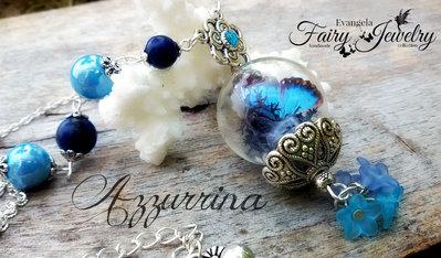 Collana terrario farfalla realistica 3d ceramica e lapislazzuli azzurro