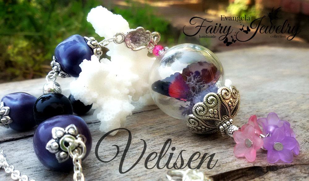 Collana terrario farfalla realistica 3d ceramica viola vetro lucite fiori
