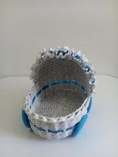 Carrozzina porta bomboniere, torta pannolini, cesto nascita in carta riciclata