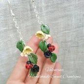 Orecchini floreali coccinella fimo