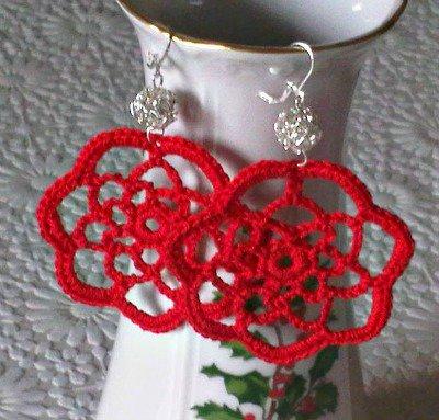 Orecchini rossi pendenti con perla argento