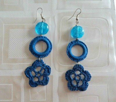orecchini pendenti blu royal