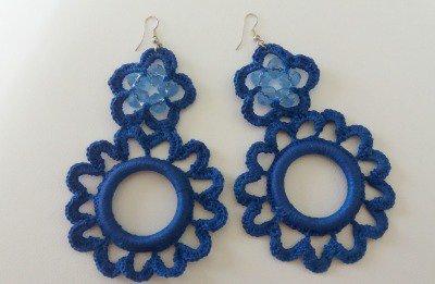 orecchini grandi blu con swarovsky