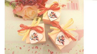 BOMBONIERA  CONFEZIONATA BATTESIMO NASCITA COMPLEANNO mod. 9  - con scatola confetti ROSA - MINNIE - no fimo