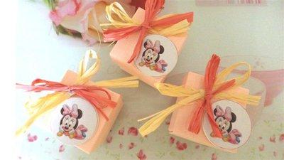 BOMBONIERA  CONFEZIONATA BATTESIMO NASCITA COMPLEANNO mod 1   - con scatola confetti ROSA - MINNIE BABY  - no fimo