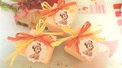 BOMBONIERA  CONFEZIONATA BATTESIMO NASCITA COMPLEANNO mod 3   - con scatola confetti ROSA - MINNIE BABY  - no fimo
