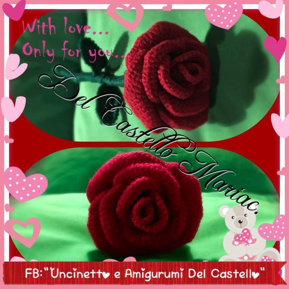 Rosa uncinetto lana acrilica