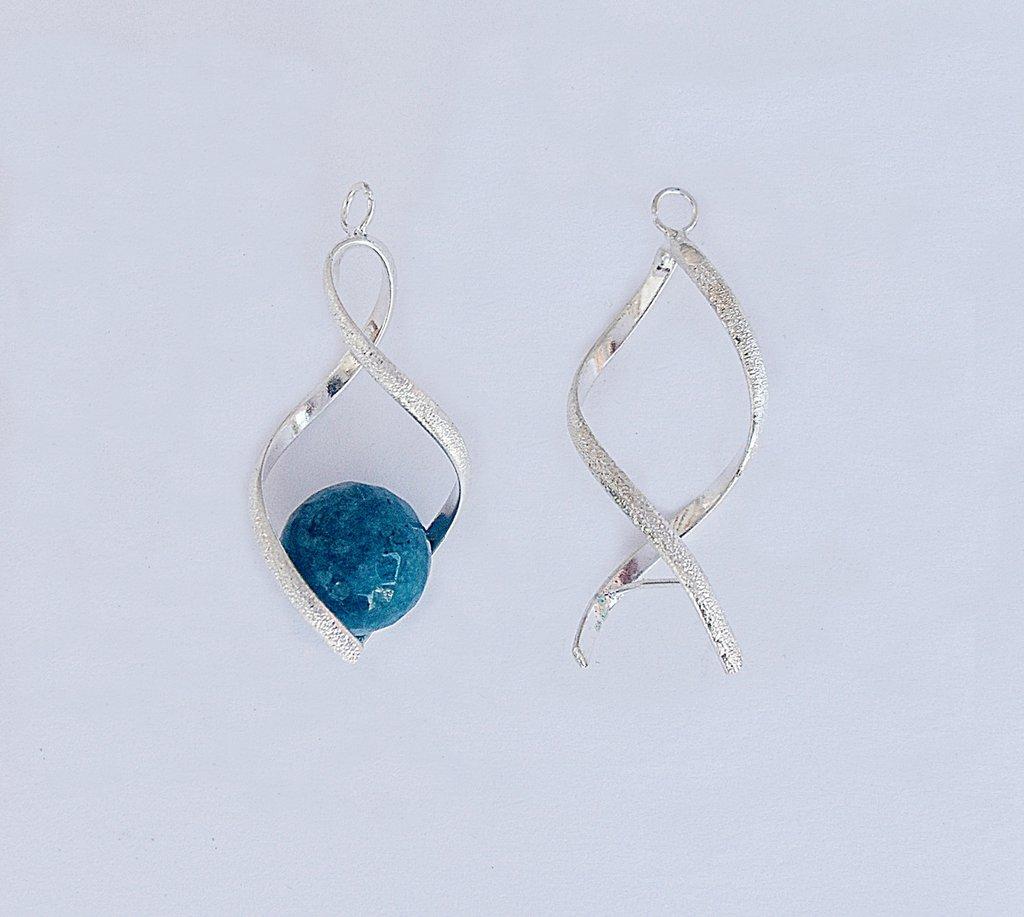 Base orecchini a spirale color argento 1 coppia