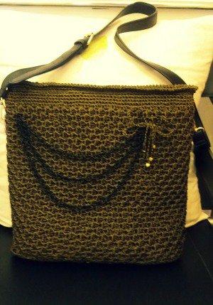 borsa verde militare  all'uncinetto