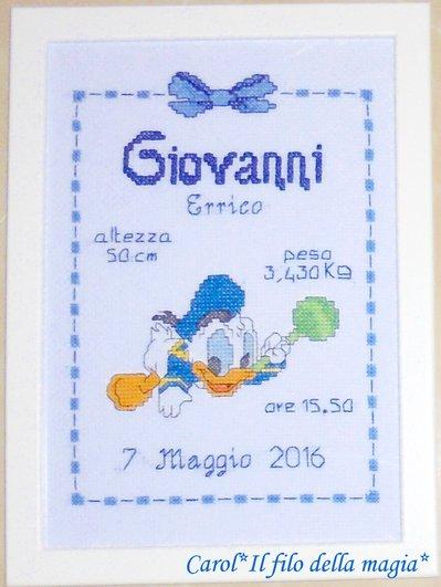 Quadretto nascita - fiocco nascita - BABY PAPERINO SONAGLINO -punto croce- B78