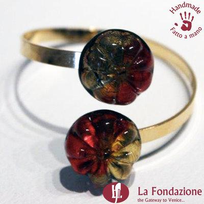 Bracciale Twist Gemma Fiore Rosso in vetro di Murano