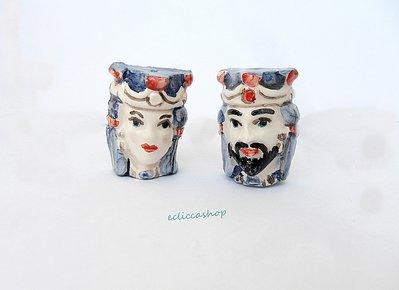 """Ciondolo in ceramica """"Teste di Moro"""" dipinte a mano a Caltagirone 2 PZ"""