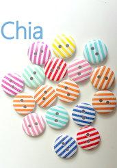 10 bottoni legno righe 15mm diametro