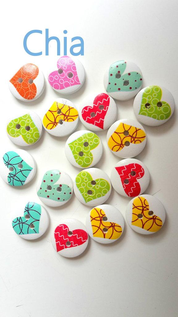 10 bottoni legno stampa cuoricini 15mm diametro