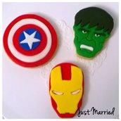 biscotti decorati a tema Avengers, Hulk, Capitan America, Ironman, supereroi