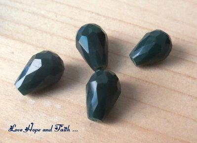 """LOTTO 10 perle teardrop """"verde foresta"""" (8x12mm)"""
