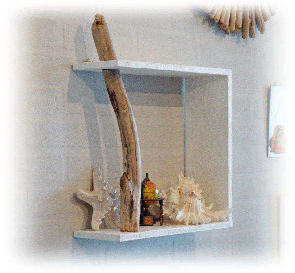 Mensola da parete con legno di mare per la casa e per te - Parete di legno ...