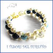 """Bracciale """" Summer Pearl """" BLU primavera estate perle elegante  idea regalo donna natale festa mamma compleanno"""
