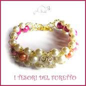 """Bracciale """" Summer Pearl """" FUCSIA primavera estate perle elegante  idea regalo donna natale festa mamma compleanno"""