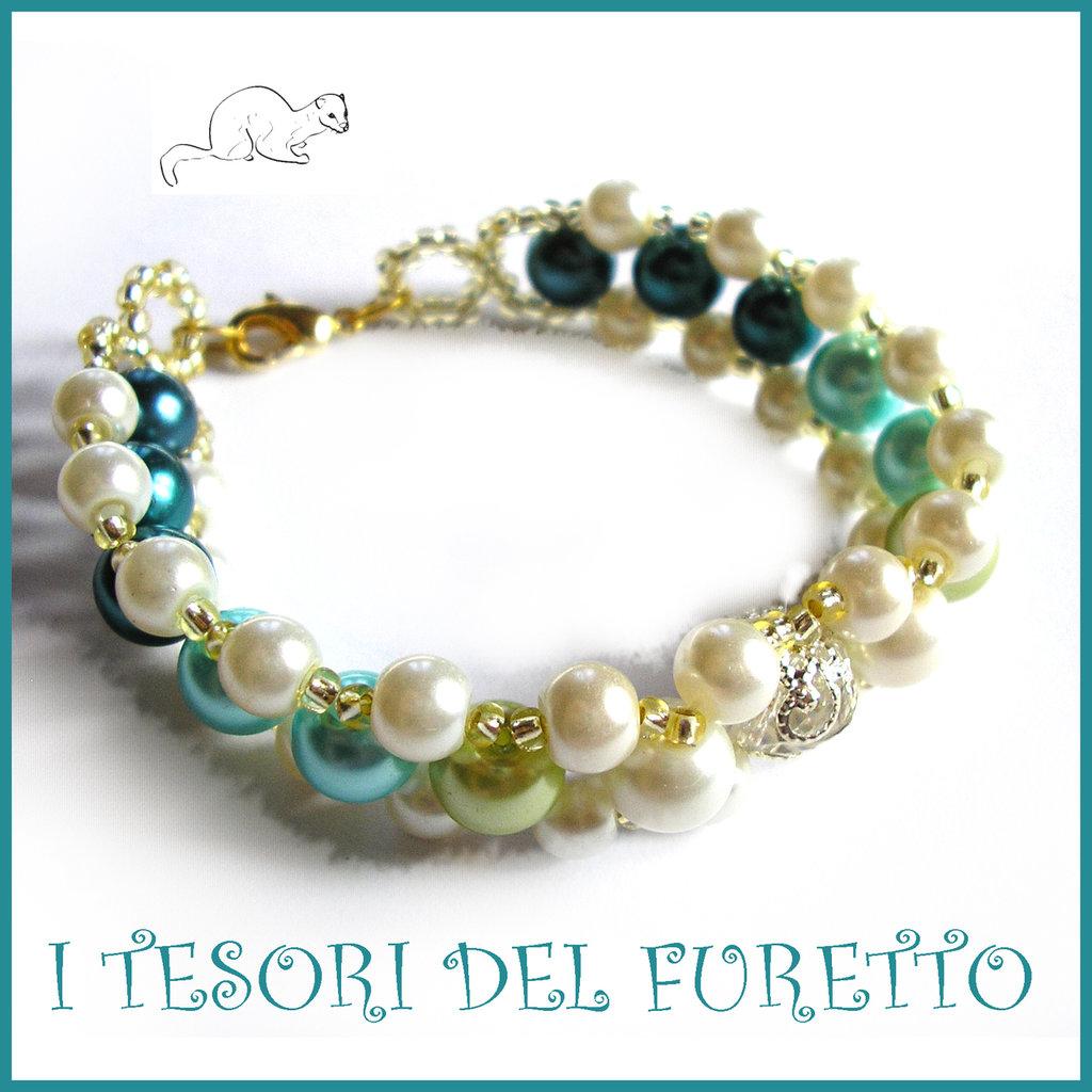 """Bracciale """" Summer Pearl """" VERDE primavera estate perle elegante  idea regalo donna natale festa mamma compleanno"""