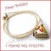 """Collana """"Happy birthday"""" mod. torta con Kiwi frutta idea regalo compleanno festa gadget bambina Natale"""