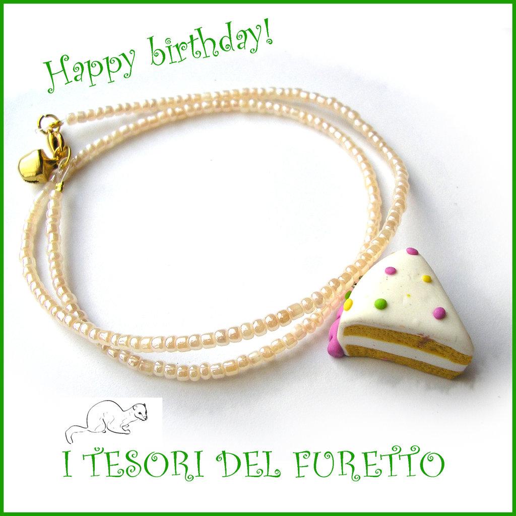 """Collana """"Happy birthday"""" mod. torta con pois pastello idea regalo compleanno festa gadget bambina Natale"""