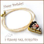 """Collana """"Happy birthday"""" mod. torta con cioccolato fuso e fragola idea regalo compleanno festa gadget bambina Natale"""