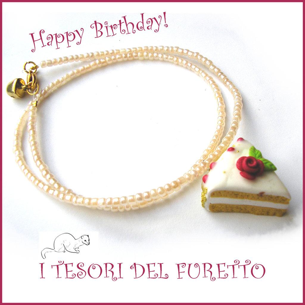 """Collana """"Happy birthday"""" mod. torta con rosa rossa e codette oro idea regalo compleanno festa gadget bambina Natale"""
