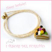 """Collana """"Happy birthday"""" mod. torta con rose e bignè intorno  idea regalo compleanno festa gadget bambina Natale"""
