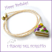 "Collana ""Happy birthday"" mod. torta con rose pastello codette lilla idea regalo compleanno festa gadget bambina Natale"
