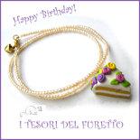 """Collana """"Happy birthday"""" mod. torta con rose pastello codette lilla idea regalo compleanno festa gadget bambina Natale"""