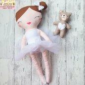 n. 1 bimbalotte ballerina capelli castani -  colore tutù a scelta