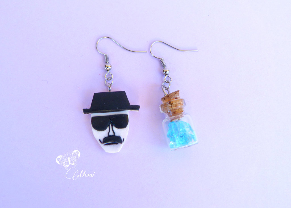Orecchini pendenti  Heinsenberg e Blue sky Breaking Bad - handmade earrings -