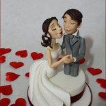 Cake Topper SPOSINI in Porcellana Fredda(anche Pasta di Zucchero su richiesta)